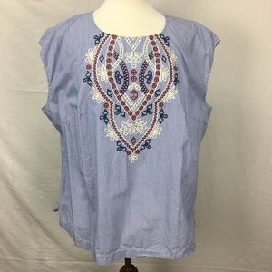 Eloquii Blue Striped Embroidered Blouse